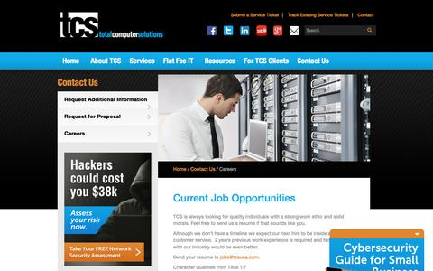 Screenshot of Jobs Page tcsusa.com - Current Job Opportunities | Total Computer Solutions - captured Dec. 12, 2016