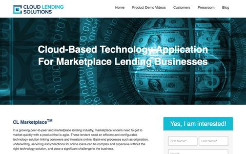 Screenshot of Landing Page cloudlendinginc.com - Cloud-based Marketplace Software for Peer To Peer Operators, Online Lenders & Crowdfunding Companies - captured Aug. 23, 2016