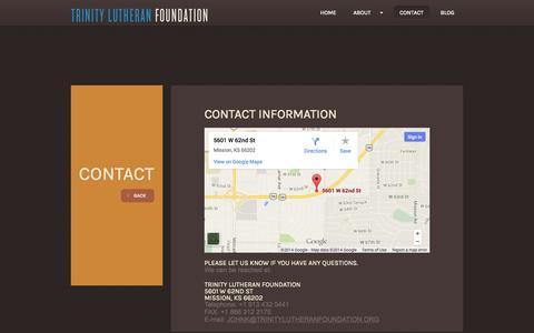 Screenshot of Blog trinitylutheranfoundation.org - Trinity Lutheran Foundation | Mission, Kansas - captured Oct. 8, 2014