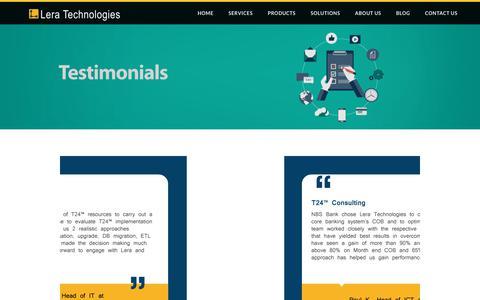 Screenshot of Testimonials Page leratechnologies.com - Testimonials - captured July 18, 2018