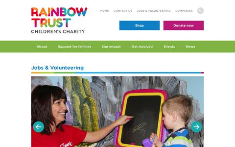 Screenshot of Jobs Page rainbowtrust.org.uk - Jobs and volunteering | Rainbow Trust Children's Charity - captured Feb. 13, 2016