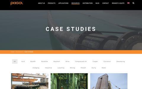 Screenshot of Case Studies Page pexgol.com - Case Studies - Pexgol - captured Sept. 29, 2018