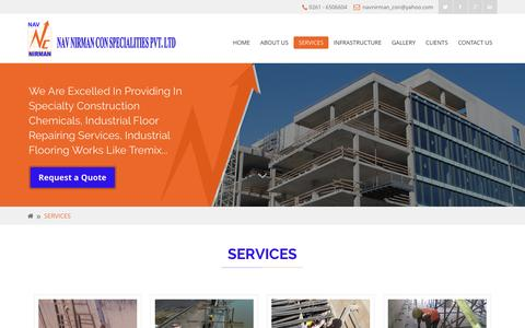 Screenshot of Services Page navnirman.net - Civil construction company | Construction & maintenance service in Surat - captured Dec. 8, 2016