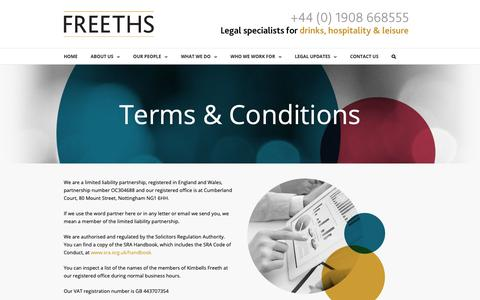 Screenshot of Terms Page hospitalitylaw.co.uk - Terms & Conditions - Freeths | Legal Specialists for Drinks, Hospitality and Leisure - captured Sept. 30, 2018