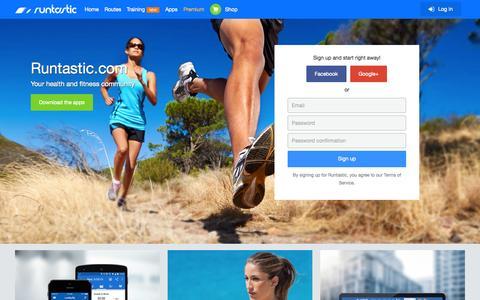 Screenshot of Home Page runtastic.com captured Sept. 18, 2015
