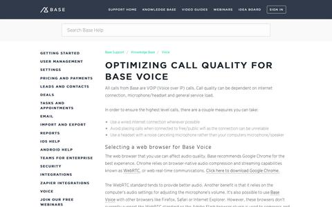 Screenshot of Support Page getbase.com - Optimizing call quality for Base Voice – Base Support - captured Oct. 9, 2018