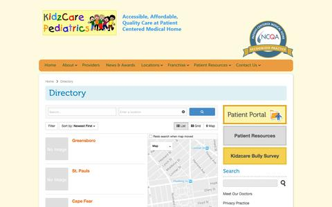 Screenshot of Locations Page kidzcarepediatrics.com - Directory   KidzCare Pediatrics - captured Nov. 27, 2016