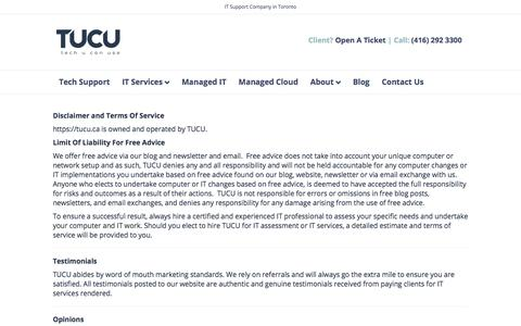 Screenshot of Terms Page tucu.ca - Disclaimer and Terms Of Service • TUCU - captured Dec. 3, 2019