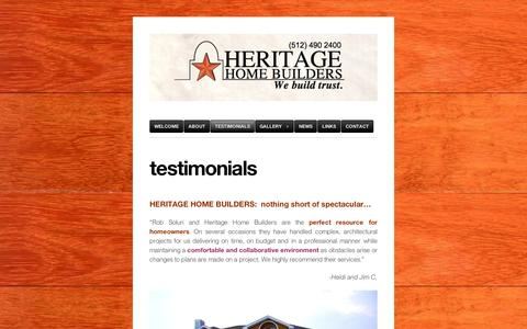 Screenshot of Testimonials Page wordpress.com - testimonials | Heritage Home Builders - captured Sept. 12, 2014