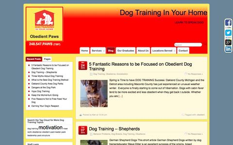 Screenshot of Blog obedientpaws.com - A Dog Training Oakland County Resource - Dog Training In Your Home Blog - captured Sept. 29, 2016