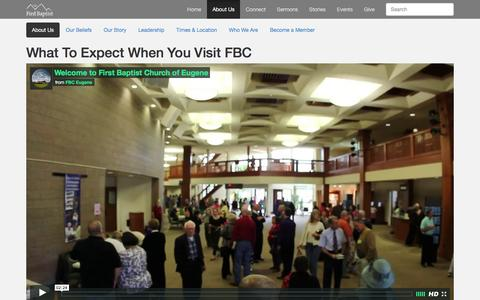 Screenshot of About Page fbceugene.com - Welcome (start here) - First Baptist Church of Eugene - captured Feb. 10, 2016