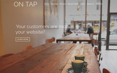 Screenshot of Home Page beontap.co - On Tap | Responsive Web Design and Development in Kansas City - captured Sept. 5, 2015