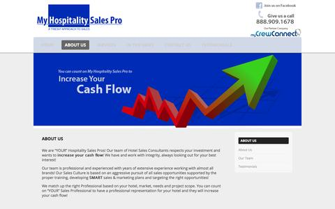 Screenshot of About Page myhospitalitysalespro.com - About Us   My Hospitality Sales Pro - captured Feb. 22, 2016