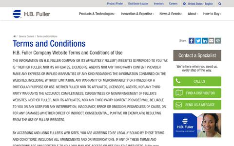 Screenshot of Terms Page hbfuller.com - H.B. Fuller : Terms and Conditions - captured July 14, 2018