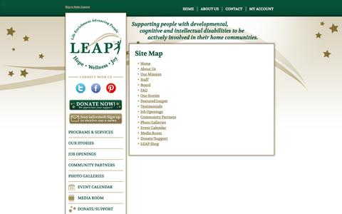 Screenshot of Site Map Page leapcommunity.org - Site Map | LEAP - captured Sept. 19, 2014