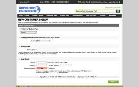 Screenshot of Signup Page karishmasteel.com captured Oct. 27, 2014