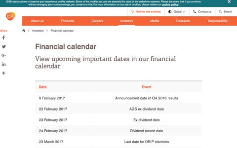 Screenshot of gsk.com - Financial calendar | GSK - captured March 10, 2017