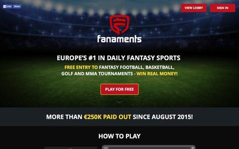 Screenshot of Home Page fanaments.com - Fanaments - captured Jan. 8, 2016