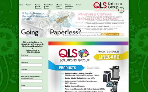 Screenshot of Products Page qls.com - Document Solutions, Services and Products | Buffalo, NY - captured Oct. 1, 2014