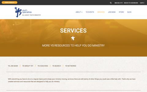 Screenshot of Services Page youthspecialties.com - Services   Youth Specialties - captured Nov. 23, 2015