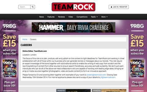 Screenshot of Jobs Page teamrock.com - TeamRock - captured Oct. 28, 2014