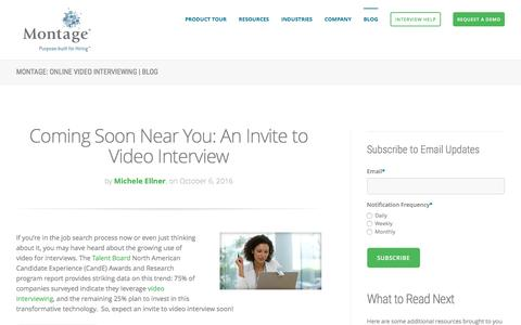 Screenshot of Blog montagetalent.com - Learn All About Video Interviewing Topics From Montage - captured Oct. 10, 2016