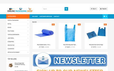 Screenshot of Home Page onlinepackagingshop.co.uk - Online Packaging Shop - captured May 18, 2018