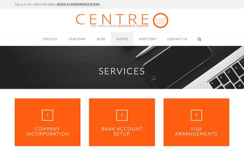 Screenshot of Services Page centreo.hk - Services - Centre O - captured July 17, 2016
