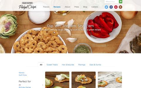 Screenshot of Press Page pretzelcrisps.com - Recipes Archive - Pretzel Crisps® - captured Oct. 6, 2014