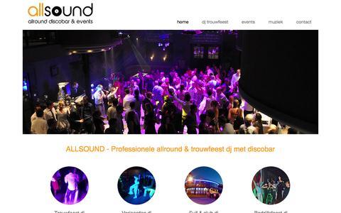 Screenshot of Home Page allsound.be - DJ trouwfeest, DJ huwelijk, DJ verjaardag en fuif met ALLSOUND - captured Sept. 30, 2014