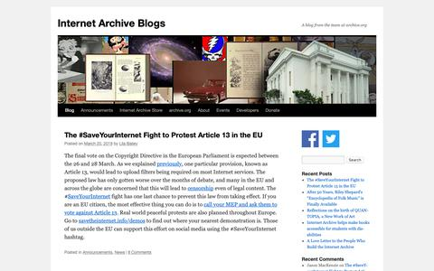 Screenshot of Blog archive.org - Internet Archive Blogs | A blog from the team at archive.org - captured March 21, 2019