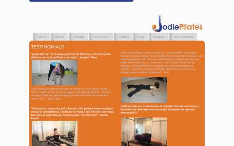 Screenshot of Testimonials Page jodiepilates.com - jodie pilates - jodie fontenot | pilates and barre instructor | personal trainer - captured Oct. 6, 2014