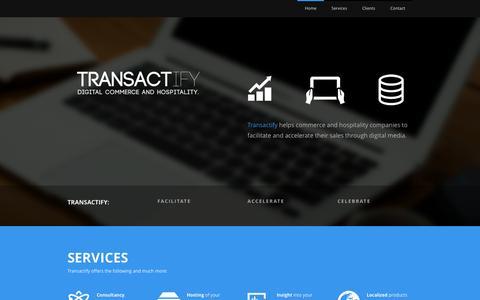 Screenshot of Home Page transactify.nl - Transactify B.V. - Digital Commerce and Hospitality - captured Sept. 2, 2015