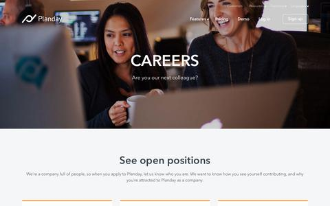Screenshot of Jobs Page planday.com - Sales, Marketing & Software Engineering Jobs & Careers at Planday - captured April 12, 2018