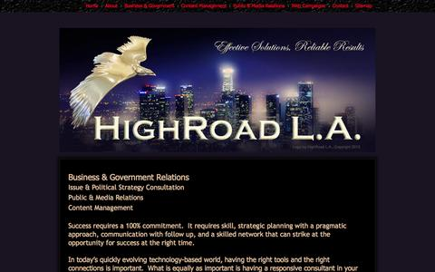 Screenshot of Home Page highroadla.com - Home Page - captured Sept. 30, 2014