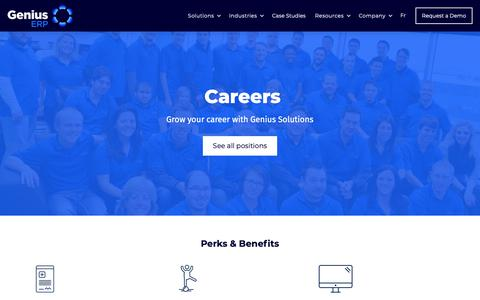 Screenshot of Jobs Page geniuserp.com - Careers | Genius ERP Solutions - captured Nov. 10, 2018