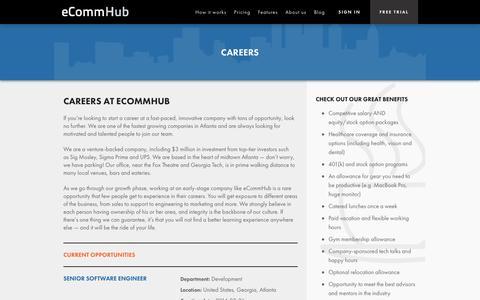 Screenshot of Jobs Page ecommhub.com - Careers   eCommHub - captured Oct. 28, 2014