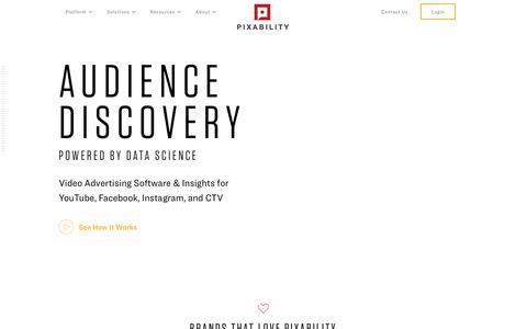 Screenshot of Home Page pixability.com - Audience Discovery. Powered by Data Science. - captured June 20, 2019