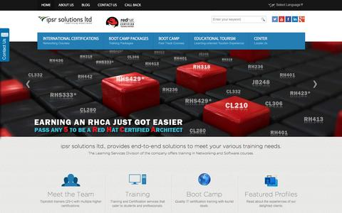 Screenshot of Home Page ipsrglobal.com - Red Hat Linux Training, CISCO Training, Certifications - Boot camps in India | IPSR - captured Jan. 29, 2017