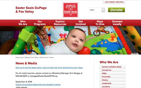 Screenshot of Press Page easterseals.com - Easter Seals DuPage & Fox Valley | News & Media - captured Oct. 19, 2016