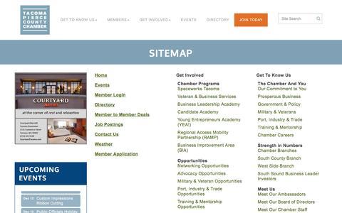 Screenshot of Site Map Page tacomachamber.org - Sitemap - Tacoma-Pierce County Chamber, WASHINGTON - captured Dec. 3, 2016