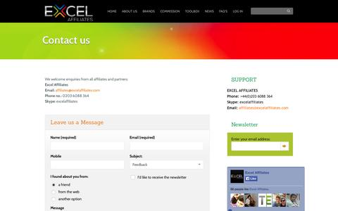 Screenshot of Contact Page Support Page excelaffiliates.com - Contact Excel Affiliates - captured Oct. 23, 2014