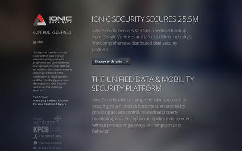 Screenshot of Home Page ionicsecurity.com - Ionic Security - captured July 17, 2014