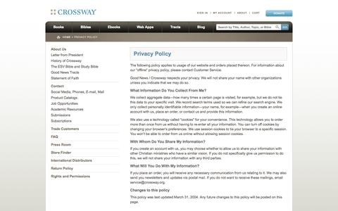 Screenshot of Privacy Page crossway.org - Privacy Policy    Crossway - captured Sept. 22, 2014