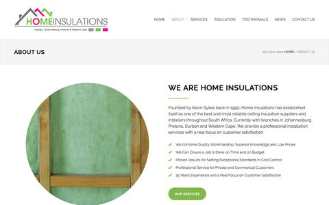 Screenshot of About Page homeinsulations.co.za - About Us | Home Insulations - captured Oct. 29, 2017