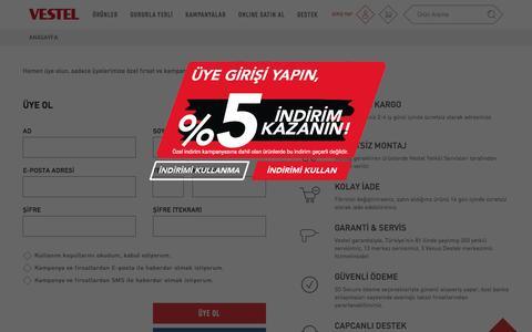 Screenshot of Signup Page vestel.com.tr - Türkiye Vestelleniyor - captured Sept. 5, 2016
