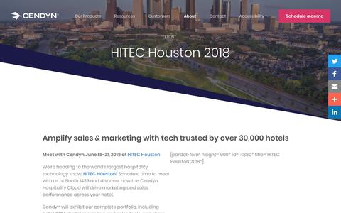 Screenshot of Pricing Page cendyn.com - Meet with Cendyn at HITEC Houston 2018 - captured Jan. 6, 2020