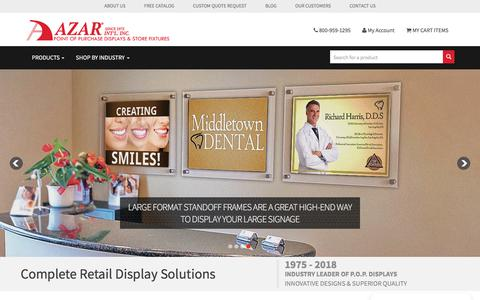 Screenshot of Home Page azardisplays.com - Azar Displays | Pegboards, Store Display Products, & POS retail fixtures - captured July 31, 2018