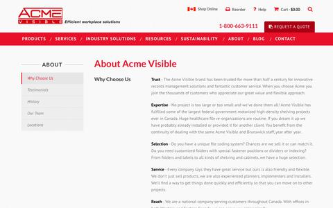 Screenshot of About Page acmevisible.com - About Acme Visible | Acme Visible and Brunswick Filing - captured Oct. 7, 2017