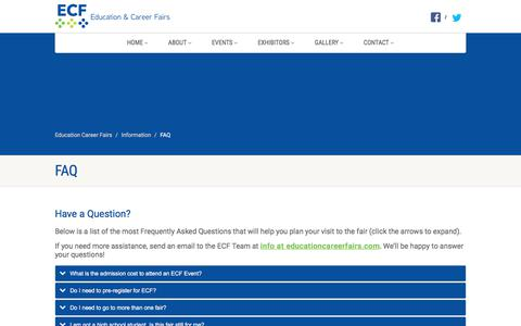 Screenshot of FAQ Page educationcareerfairs.com - FAQ - Education Career Fairs - captured July 3, 2018